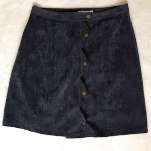 Corduroy Navy Button Down skirt